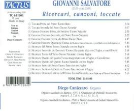 RICERCARI, CANZONI, TOCCA DIEGO CANIZZARO Audio CD, G. SALVATORE, CD