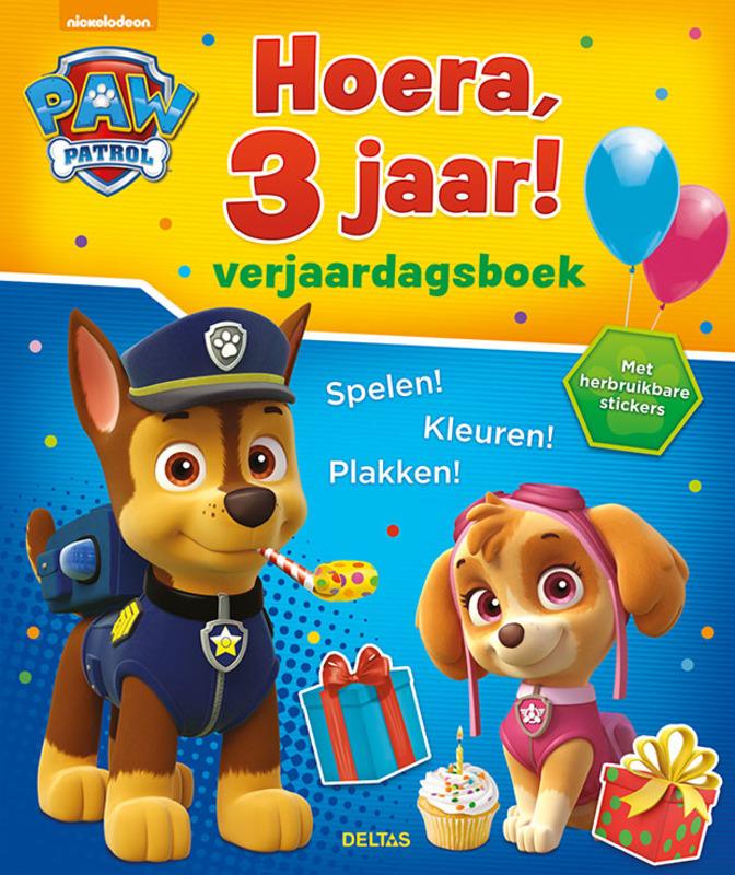 Paw Patrol Hoera, 3 jaar! Verjaardagsboek. Spelen! Kleuren! Plakken! Met herbruikbare stickers, onb.uitv.