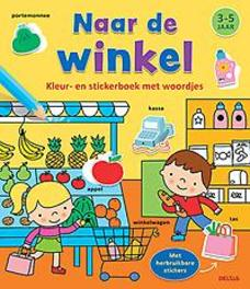 Kleur-en stickerboek met woordjes - Naar de winkel (3-5 j.). ZNU, onb.uitv.