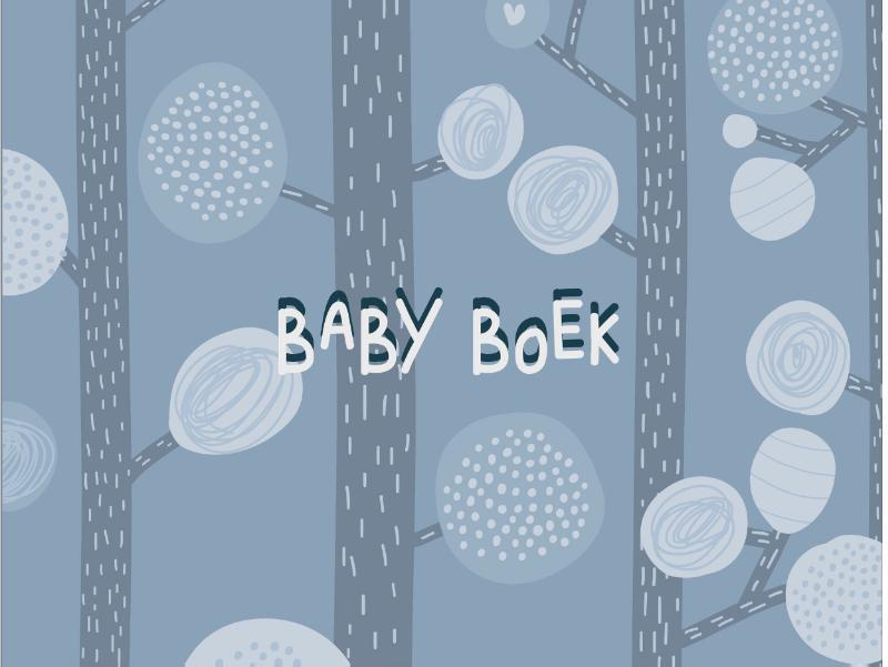 Babyboek oud blauw. Hardcover