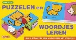 Puzzelen en woordjes leren kijk in het boek en vorm 6 lieve dieren met de blokjes, ZNU, Hardcover