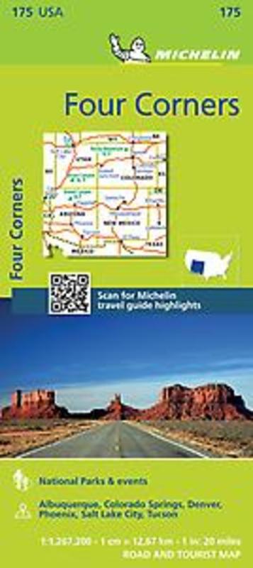 FOUR CORNERS 11175 CARTE MICHELIN KAART Michelin, Paperback