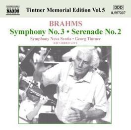 TINTNER MEMORIAL EDITION NOVA SCOTIA S.O. J. BRAHMS, CD