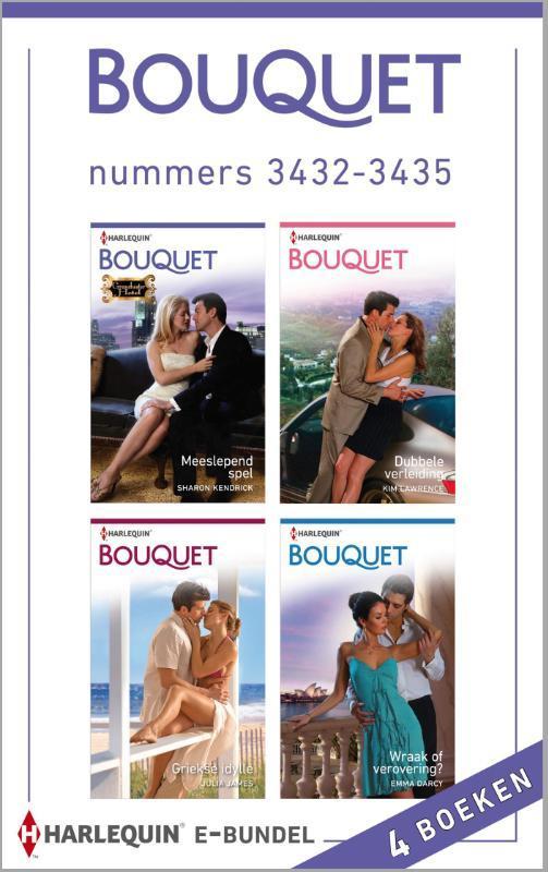 Bouquet e-bundel nummers 3432-3435 (4-in-1) Meeslepend spel ; Dubbele verleiding ; Griekse idylle ; Wraak of verovering?, Kendrick, Sharon, Ebook