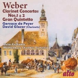 CLARINET CONCERTOS NO.1 & WURTTEMBURG CHAMBER ORCHESTRA/DAVID GLAZER C.M. VON WEBER, CD