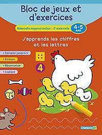 Bloc de jeux et d'exercices - J'apprends les chiffres et les lettres (4-5 a.) Compter jusqu'à 5 - Écriture - Observation - Logique, ZNU, Paperback
