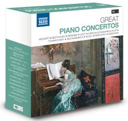 GREAT PIANO CONCERTOS MOZART/BEETHOVEN/BRAHMS/LISZT/GRIEG/SCHUMANN/RAVEL.. V/A, CD
