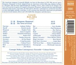 HANGMAN, HANGMAN W/COLMAN PEARCE, CARNEGIE MELLON ENSEMBLE L. BALADA, CD